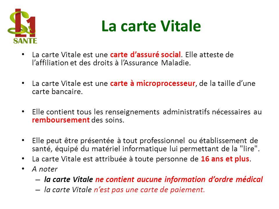 La carte Vitale La carte Vitale est une carte dassuré social. Elle atteste de laffiliation et des droits à lAssurance Maladie. La carte Vitale est une