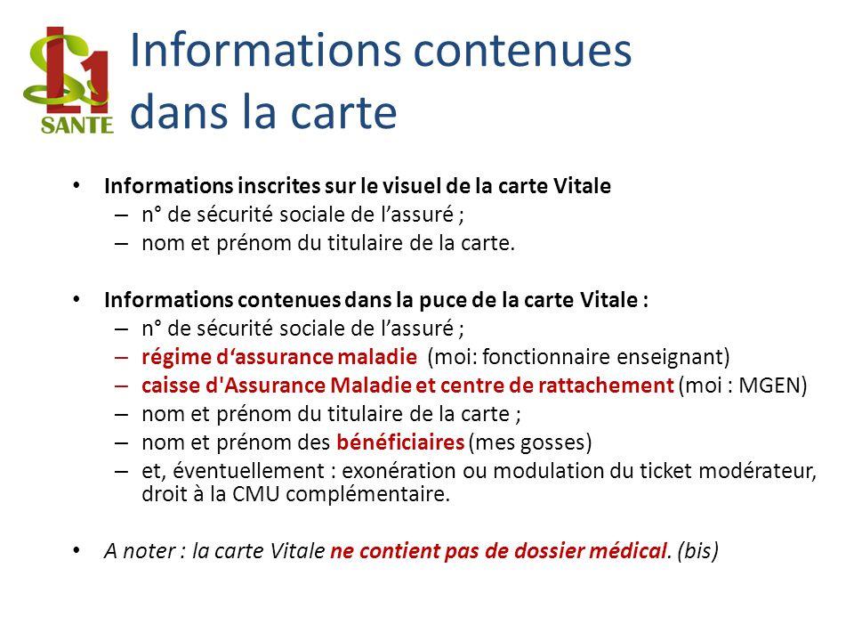 Informations contenues dans la carte Informations inscrites sur le visuel de la carte Vitale – n° de sécurité sociale de lassuré ; – nom et prénom du