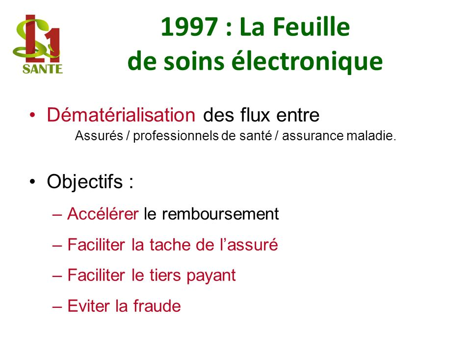 1997 : La Feuille de soins électronique Dématérialisation des flux entre Assurés / professionnels de santé / assurance maladie. Objectifs : –Accélérer