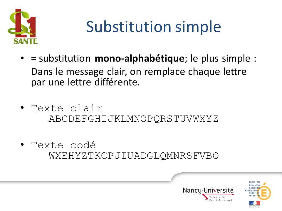 Substitution simple = substitution mono-alphabétique; le plus simple : Dans le message clair, on remplace chaque lettre par une lettre différente. Tex