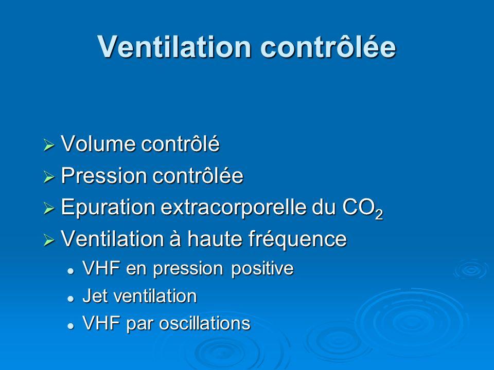 Ventilation contrôlée Volume contrôlé Volume contrôlé Pression contrôlée Pression contrôlée Epuration extracorporelle du CO 2 Epuration extracorporell