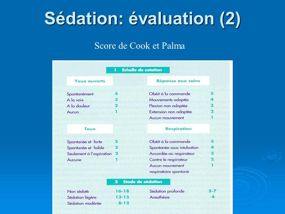 Sédation: évaluation (2) Score de Cook et Palma