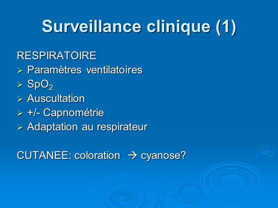 Surveillance clinique (1) RESPIRATOIRE Paramètres ventilatoires Paramètres ventilatoires SpO 2 SpO 2 Auscultation Auscultation +/- Capnométrie +/- Cap