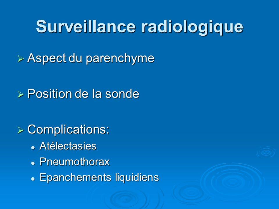 Surveillance radiologique Aspect du parenchyme Aspect du parenchyme Position de la sonde Position de la sonde Complications: Complications: Atélectasi