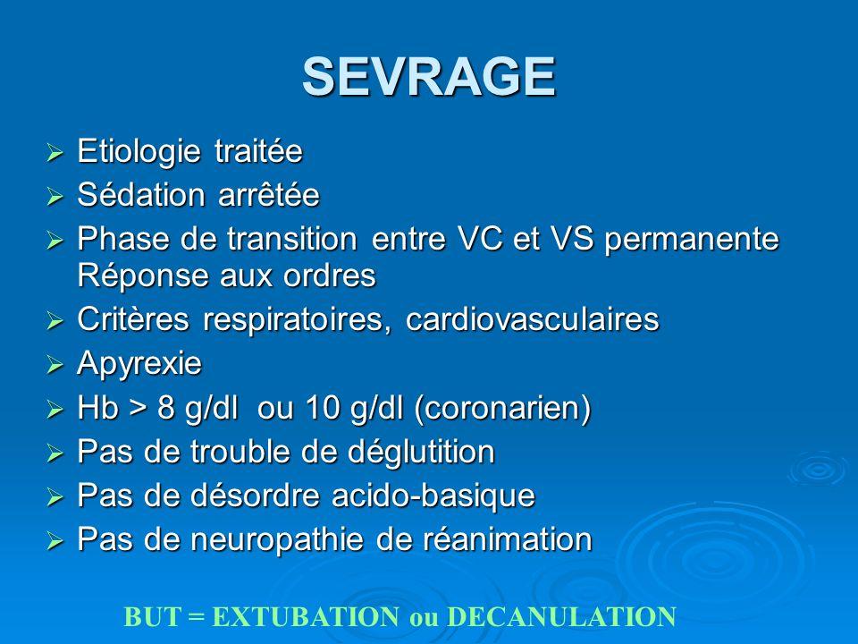 SEVRAGE Etiologie traitée Etiologie traitée Sédation arrêtée Sédation arrêtée Phase de transition entre VC et VS permanente Réponse aux ordres Phase d