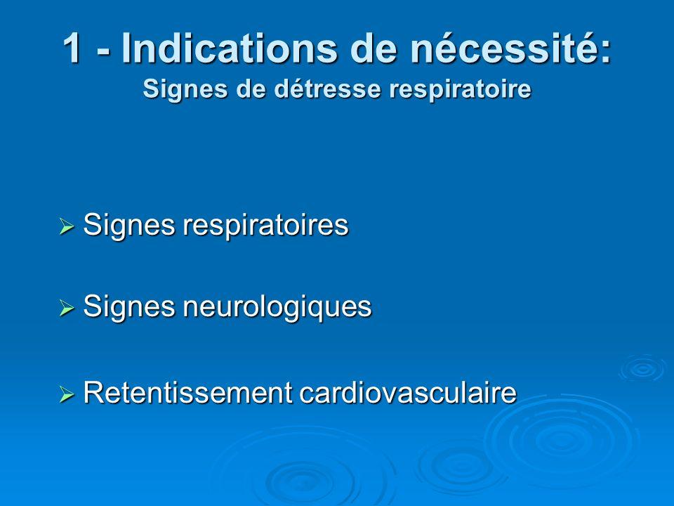 1 - Indications de nécessité: Signes de détresse respiratoire Signes respiratoires Signes respiratoires Signes neurologiques Signes neurologiques Rete