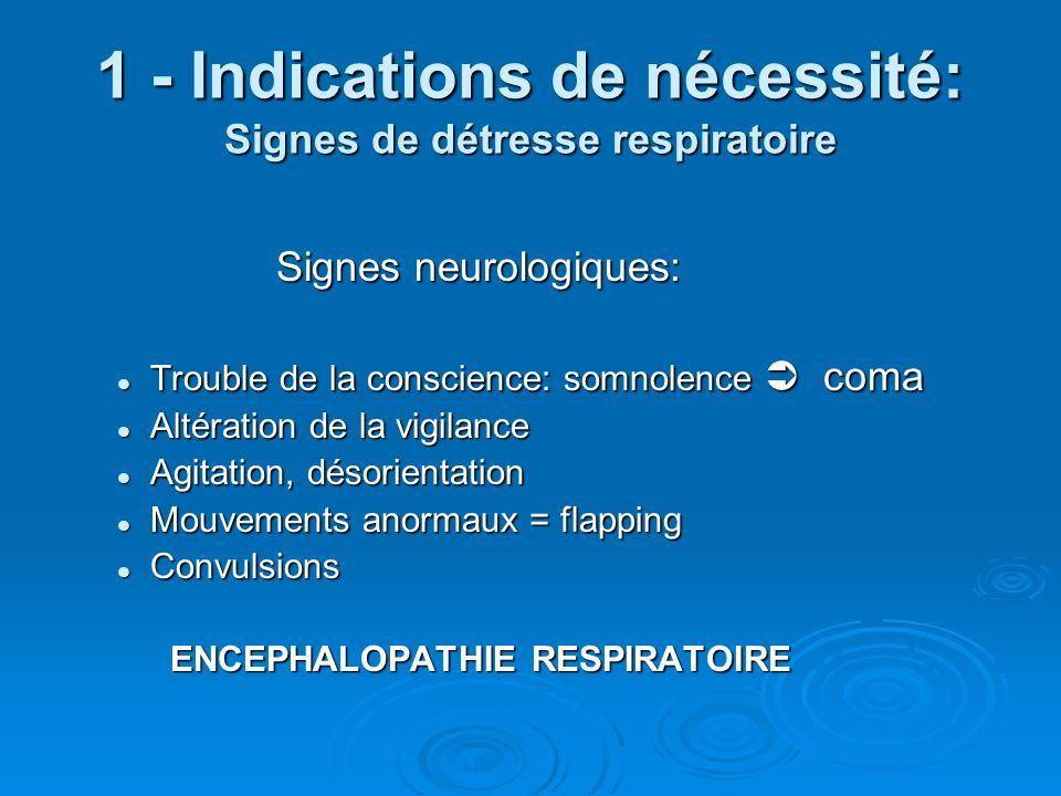 1 - Indications de nécessité: Signes de détresse respiratoire Retentissement cardiovasculaire: Tachycardie, HTA = Hypercapnie Tachycardie, HTA = Hypercapnie Bradycardie = Hypoxie Bradycardie = Hypoxie Collapsus Collapsus