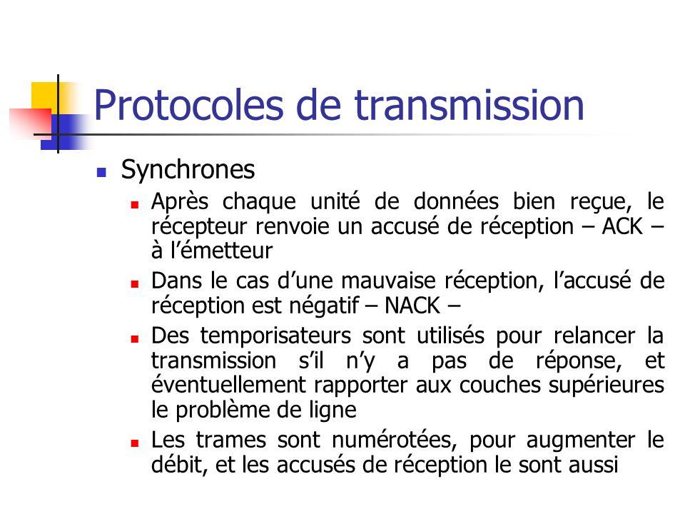 Protocoles de transmission Synchrones Après chaque unité de données bien reçue, le récepteur renvoie un accusé de réception – ACK – à lémetteur Dans l