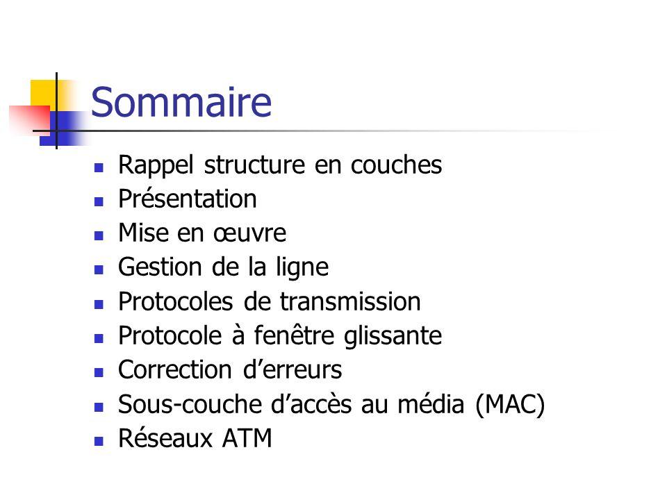 Sommaire Rappel structure en couches Présentation Mise en œuvre Gestion de la ligne Protocoles de transmission Protocole à fenêtre glissante Correctio