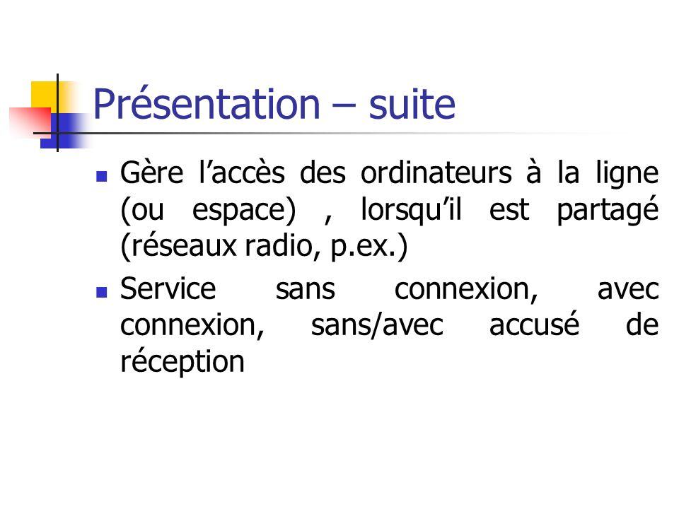 Présentation – suite Gère laccès des ordinateurs à la ligne (ou espace), lorsquil est partagé (réseaux radio, p.ex.) Service sans connexion, avec conn
