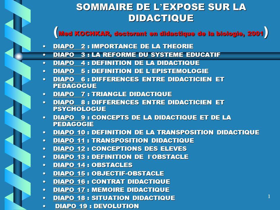 1 SOMMAIRE DE L EXPOSE SUR LA DIDACTIQUE ( Med KOCHKAR, doctorant en didactique de la biologie, 2001 ) DIAPO 2 : IMPORTANCE DE LA THEORIEDIAPO 2 : IMPORTANCE DE LA THEORIE DIAPO 3 : LA REFORME DU SYSTEME EDUCATIFDIAPO 3 : LA REFORME DU SYSTEME EDUCATIF DIAPO 4 : DEFINITION DE LA DIDACTIQUEDIAPO 4 : DEFINITION DE LA DIDACTIQUE DIAPO 5 : DEFINITION DE L EPISTEMOLOGIEDIAPO 5 : DEFINITION DE L EPISTEMOLOGIE DIAPO 6 : DIFFERENCES ENTRE DIDACTICIEN ET PEDAGOGUEDIAPO 6 : DIFFERENCES ENTRE DIDACTICIEN ET PEDAGOGUE DIAPO 7 : TRIANGLE DIDACTIQUEDIAPO 7 : TRIANGLE DIDACTIQUE DIAPO 8 : DIFFERENCES ENTRE DIDACTICIEN ET PSYCHOLOGUEDIAPO 8 : DIFFERENCES ENTRE DIDACTICIEN ET PSYCHOLOGUE DIAPO 9 : CONCEPTS DE LA DIDACTIQUE ET DE LA PEDAGOGIEDIAPO 9 : CONCEPTS DE LA DIDACTIQUE ET DE LA PEDAGOGIE DIAPO 10 : DEFINITION DE LA TRANSPOSITION DIDACTIQUEDIAPO 10 : DEFINITION DE LA TRANSPOSITION DIDACTIQUE DIAPO 11 : TRANSPOSITION DIDACTIQUEDIAPO 11 : TRANSPOSITION DIDACTIQUE DIAPO 12 : CONCEPTIONS DES ELEVESDIAPO 12 : CONCEPTIONS DES ELEVES DIAPO 13 : DEFINITION DE l OBSTACLEDIAPO 13 : DEFINITION DE l OBSTACLE DIAPO 14 : OBSTACLESDIAPO 14 : OBSTACLES DIAPO 15 : OBJECTIF-OBSTACLEDIAPO 15 : OBJECTIF-OBSTACLE DIAPO 16 : CONTRAT DIDACTIQUEDIAPO 16 : CONTRAT DIDACTIQUE DIAPO 17 : MEMOIRE DIDACTIQUEDIAPO 17 : MEMOIRE DIDACTIQUE DIAPO 18 : SITUATION DIDACTIQUEDIAPO 18 : SITUATION DIDACTIQUE DIAPO 19 : DEVOLUTION DIAPO 19 : DEVOLUTION