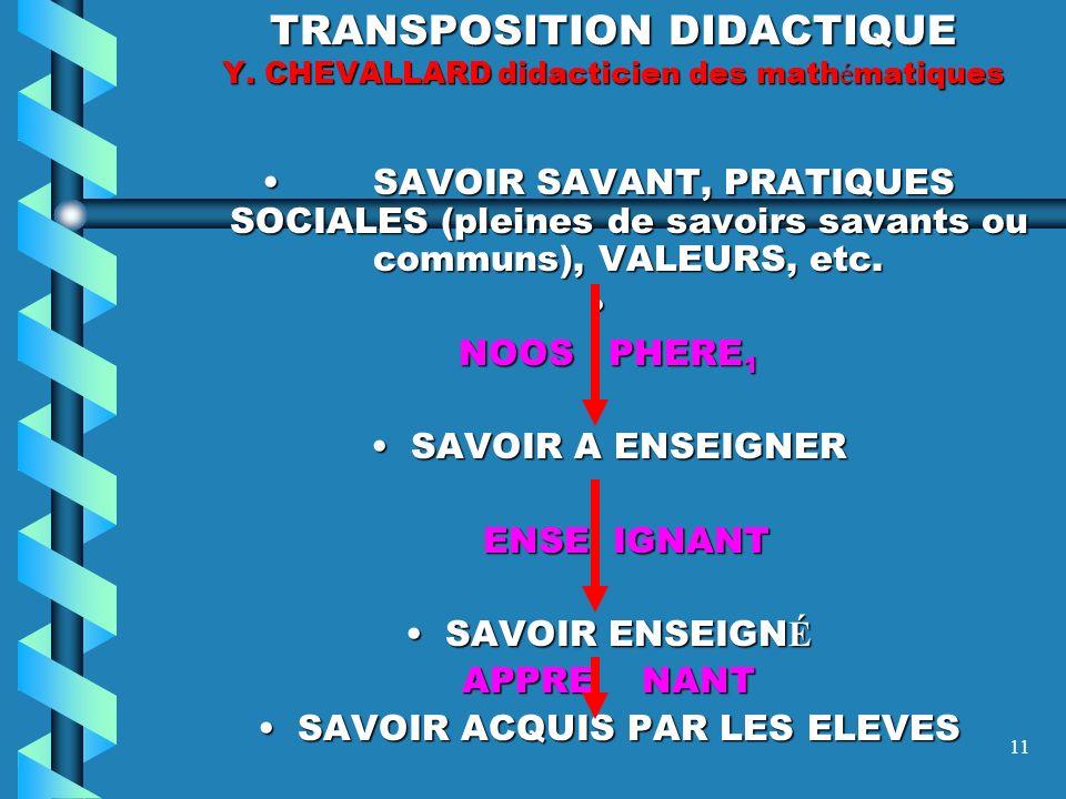 10 DEFINITION DE LA TRNSPOSITION DIDACTIQUE C EST LA SUCCESSION DE TRANSFORMATIONS QUI FONT PASSER DE LA CULTURE EN VIGUEUR DANS UNE SOCIETE (SAVOIR S