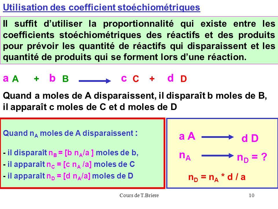Cours de T.Briere10 Loutil mathématique principal du chimiste : la REGLE DE TROIS Il suffit dutiliser la proportionnalité qui existe entre les coefficients stoéchiométriques des réactifs et des produits pour prévoir les quantité de réactifs qui disparaissent et les quantité de produits qui se forment lors dune réaction.