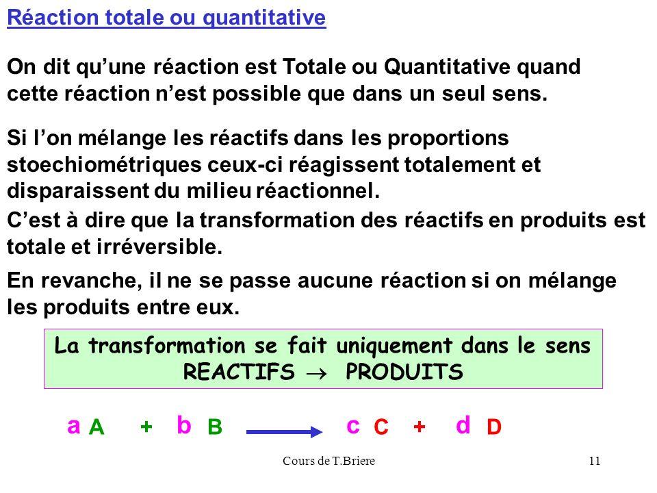 Cours de T.Briere11 Réaction totale ou quantitative On dit quune réaction est Totale ou Quantitative quand cette réaction nest possible que dans un seul sens.