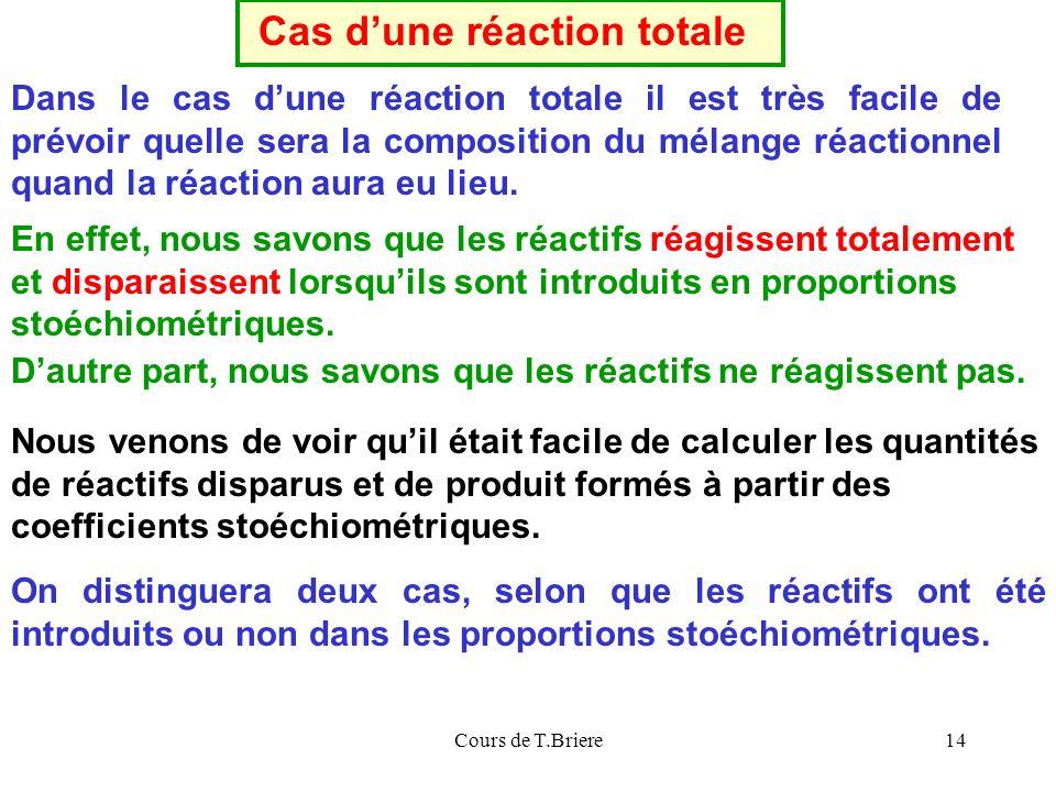 Cours de T.Briere14 Dans le cas dune réaction totale il est très facile de prévoir quelle sera la composition du mélange réactionnel quand la réaction aura eu lieu.