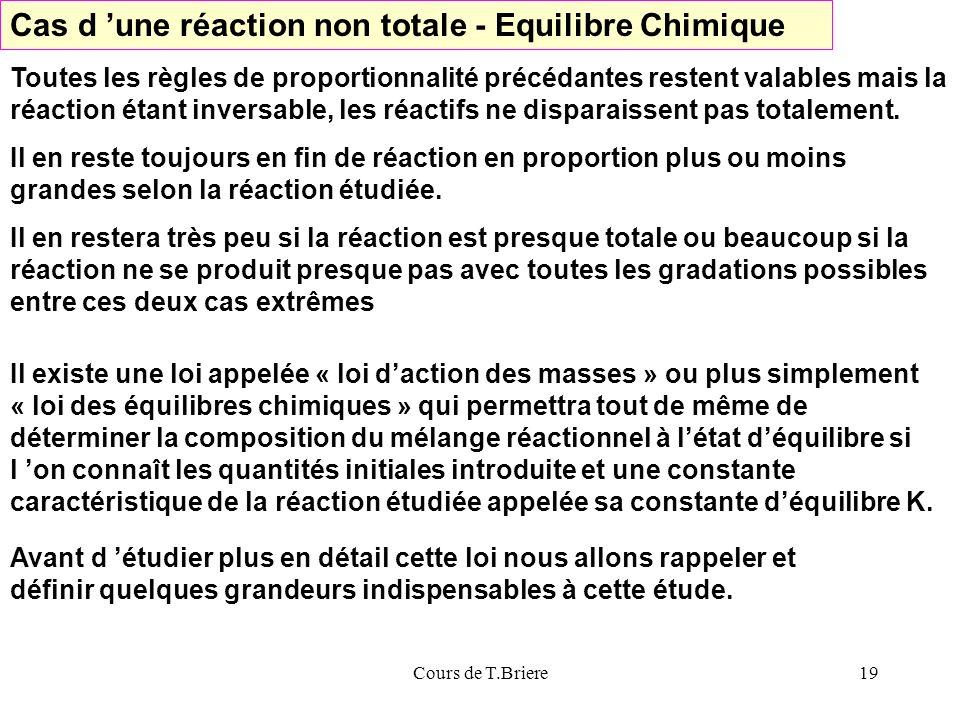 Cours de T.Briere19 Cas d une réaction non totale - Equilibre Chimique Toutes les règles de proportionnalité précédantes restent valables mais la réaction étant inversable, les réactifs ne disparaissent pas totalement.