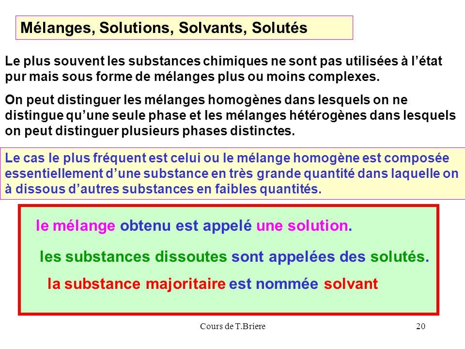 Cours de T.Briere20 Mélanges, Solutions, Solvants, Solutés Le plus souvent les substances chimiques ne sont pas utilisées à létat pur mais sous forme de mélanges plus ou moins complexes.