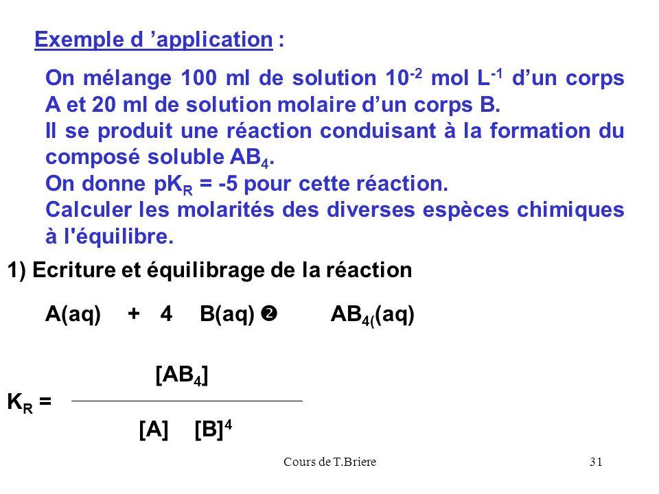 Cours de T.Briere31 On mélange 100 ml de solution 10 -2 mol L -1 dun corps A et 20 ml de solution molaire dun corps B.