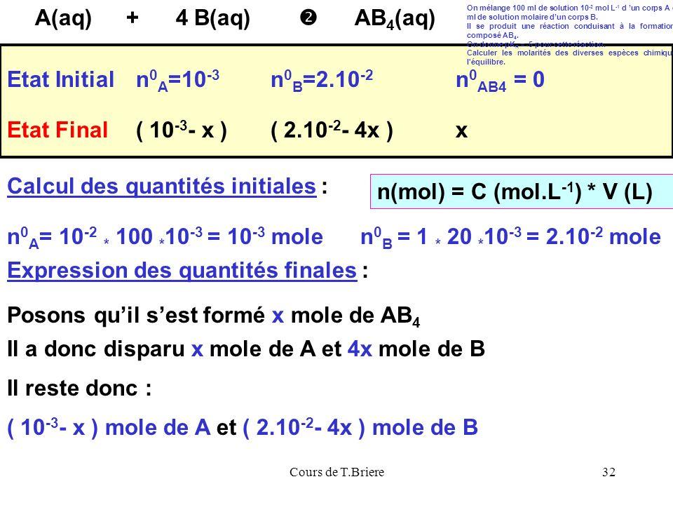 Cours de T.Briere32 A(aq)AB 4 (aq) 4 B(aq) + Etat Initialn 0 A =10 -3 n 0 B =2.10 -2 Etat Final Calcul des quantités initiales : n 0 A = 10 -2 * 100 * 10 -3 = 10 -3 mole n(mol) = C (mol.L -1 ) * V (L) n 0 B = 1 * 20 * 10 -3 = 2.10 -2 mole n 0 AB4 = 0 Expression des quantités finales : Posons quil sest formé x mole de AB 4 Il a donc disparu x mole de A et 4x mole de B ( 10 -3 - x ) mole de A et ( 2.10 -2 - 4x ) mole de B ( 10 -3 - x )( 2.10 -2 - 4x )x Il reste donc : On mélange 100 ml de solution 10 -2 mol L -1 d un corps A et 20 ml de solution molaire dun corps B.
