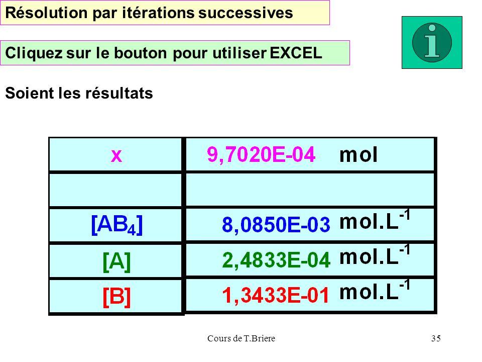 Cours de T.Briere35 Résolution par itérations successives Cliquez sur le bouton pour utiliser EXCEL Soient les résultats