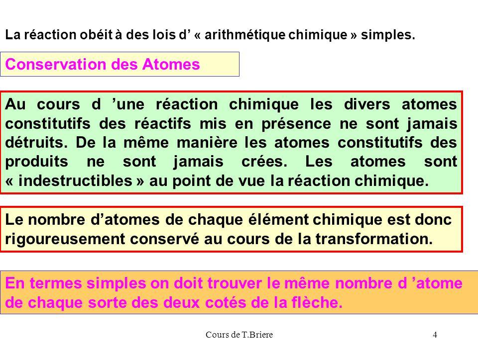 Cours de T.Briere4 La réaction obéit à des lois d « arithmétique chimique » simples.