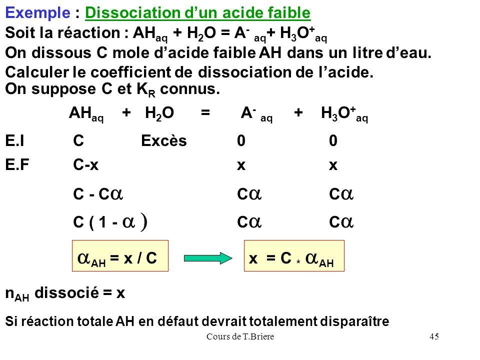 Cours de T.Briere45 Exemple : Dissociation dun acide faible Soit la réaction : AH aq + H 2 O = A - aq + H 3 O + aq AH aq + H 2 O = A - aq + H 3 O + aq On dissous C mole dacide faible AH dans un litre deau.