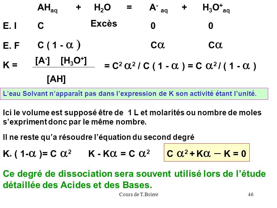 Cours de T.Briere46 AH aq + H 2 O = A - aq + H 3 O + aq E.