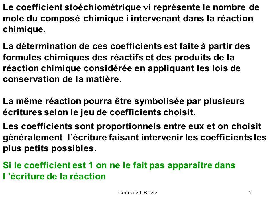 Cours de T.Briere7 Le coefficient stoéchiométrique i représente le nombre de mole du composé chimique i intervenant dans la réaction chimique.