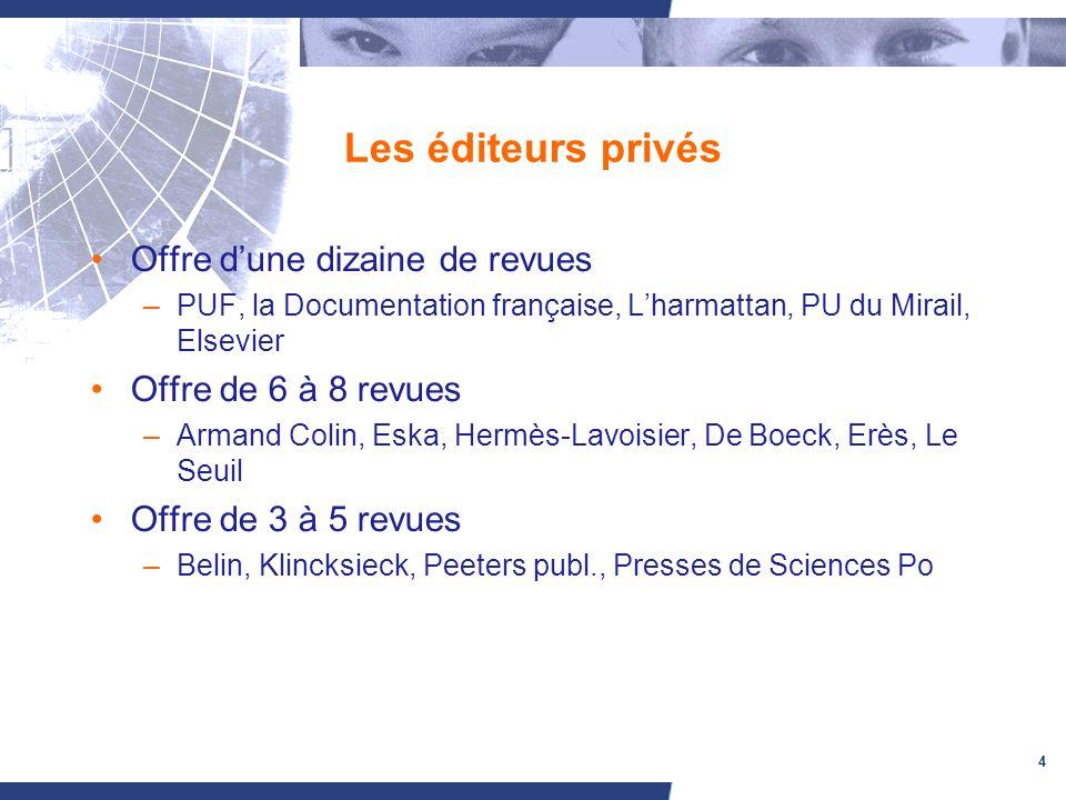 4 Les éditeurs privés Offre dune dizaine de revues –PUF, la Documentation française, Lharmattan, PU du Mirail, Elsevier Offre de 6 à 8 revues –Armand