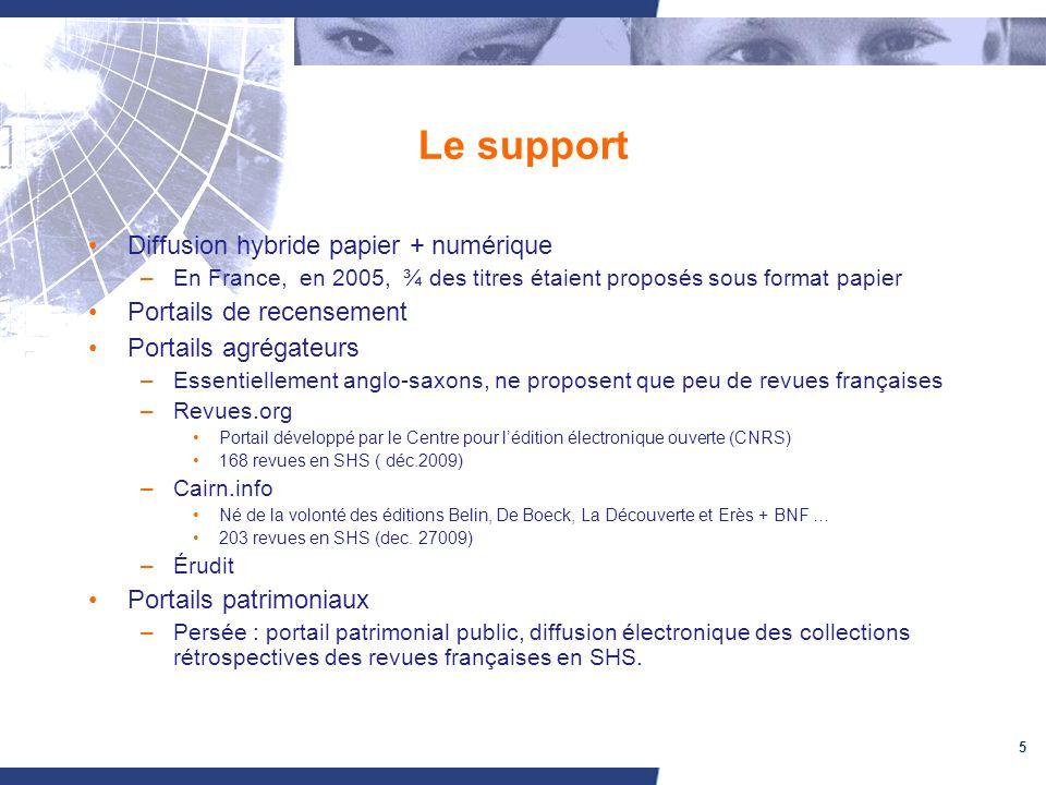 5 Le support Diffusion hybride papier + numérique –En France, en 2005, ¾ des titres étaient proposés sous format papier Portails de recensement Portai