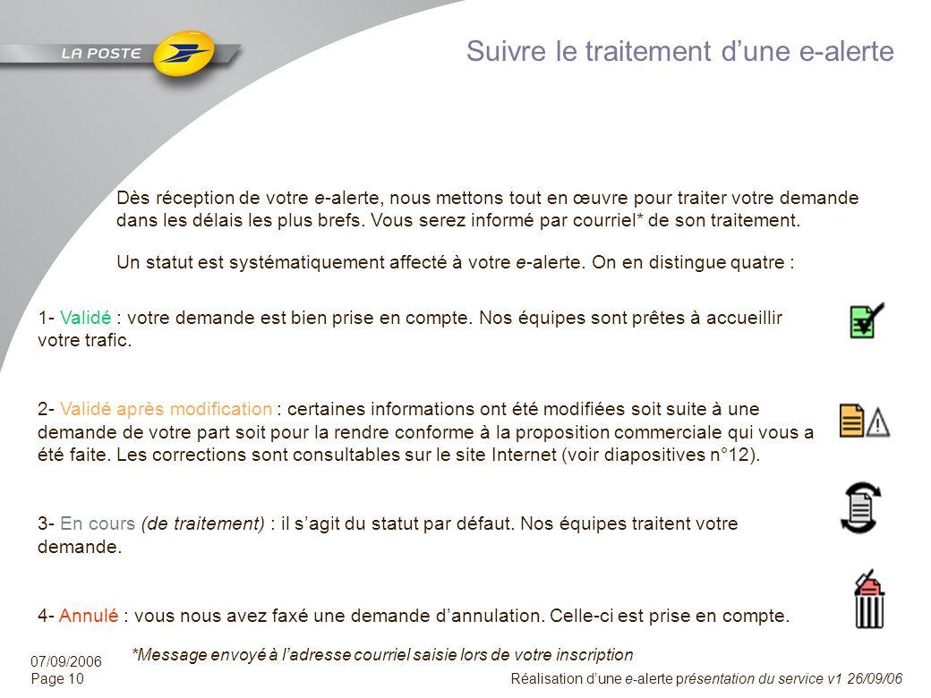 07/09/2006 Page 9 Réalisation dune e-alerte présentation du service v1 26/09/06 Envoyer une e-alerte Le processus de création dépend de votre profil e