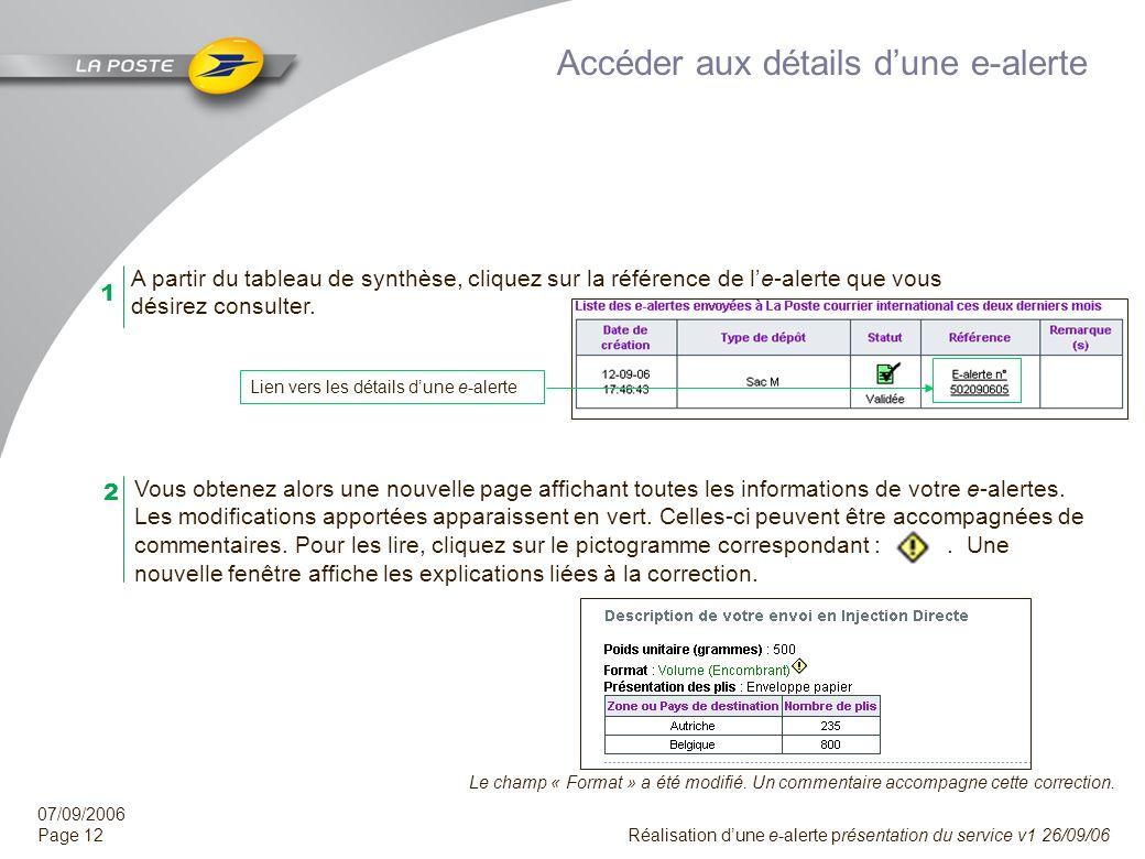 07/09/2006 Page 11 Réalisation dune e-alerte présentation du service v1 26/09/06 Vous obtenez alors une synthèse des e-alertes réalisées ces deux dern