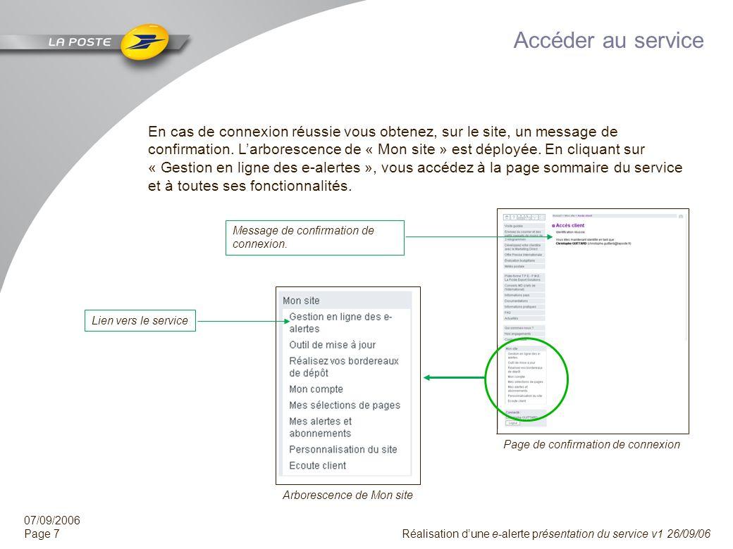 07/09/2006 Page 6 Réalisation dune e-alerte présentation du service v1 26/09/06 Se connecter à Mon site Connectez-vous au site Internet de La Poste co