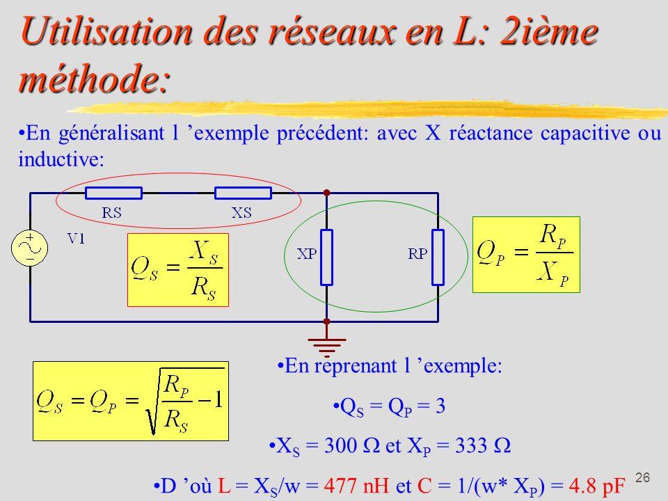25 Utilisation des réseaux en L: Exemple: 1ière méthode: Calculer un circuit en L qui devra adapter une source [RS] de 100 à une charge [RL] de 1k à 1