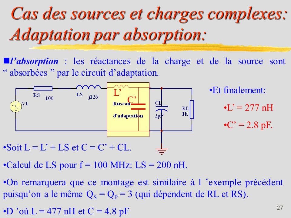 26 Utilisation des réseaux en L: 2ième méthode: En généralisant l exemple précédent: avec X réactance capacitive ou inductive: En reprenant l exemple: