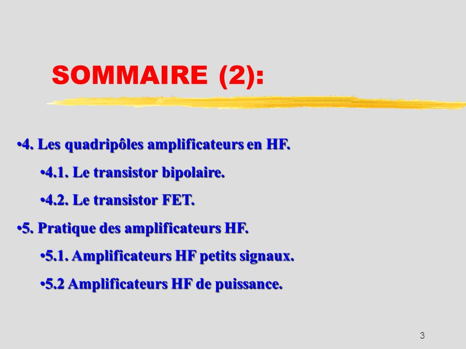 2 SOMMAIRE (1): 1. Introduction.1. Introduction. 2. Adaptation des impédances.2. Adaptation des impédances. 3. Les circuits de couplage.3. Les circuit