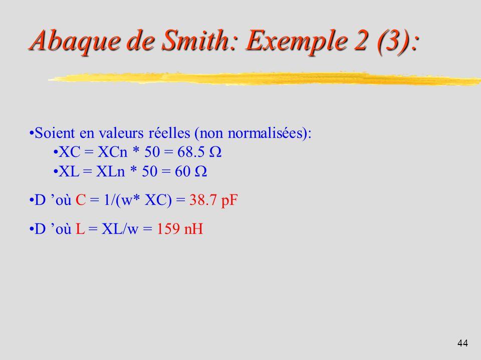 43 Abaque de Smith: Exemple 2 (2): Calculs: Les valeurs des impédances sont trop grandes pour les placer sur l abaque de Smith. Il faut alors normalis