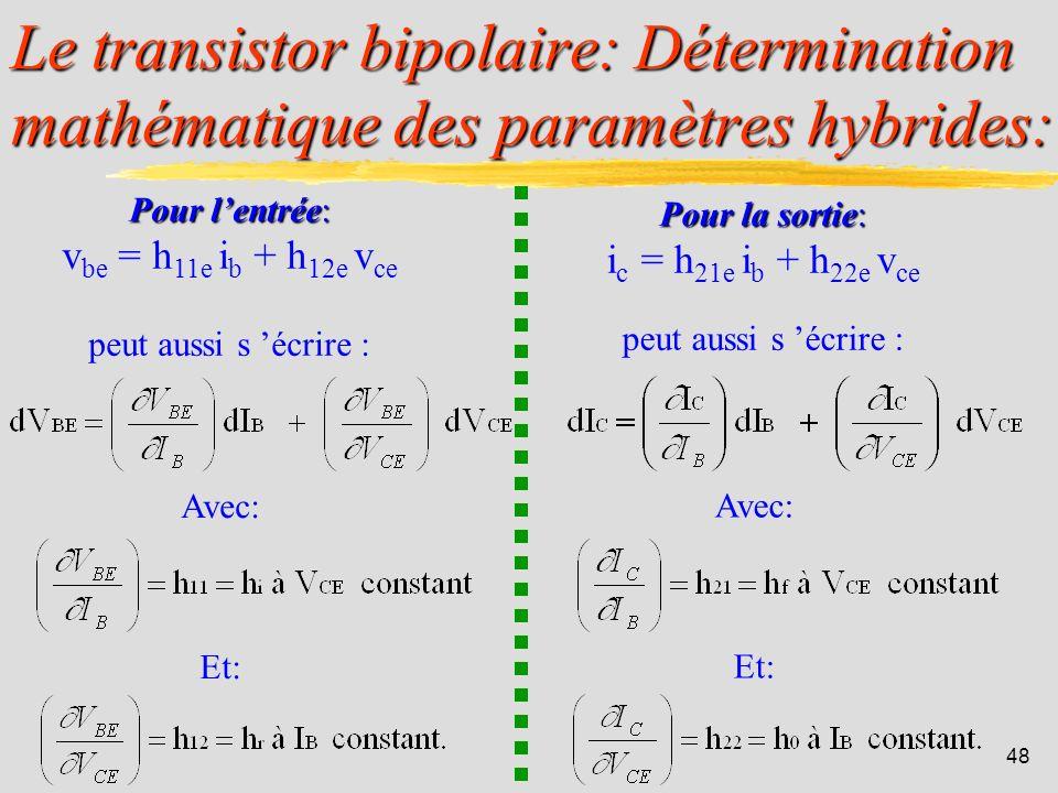 47 Le transistor bipolaire: Schéma équivalent en régime dynamique: RAPPEL DE 1ière ANNEE : v be = h 11e i b + h 12e v ce i c = h 21e i b + h 22e v ce