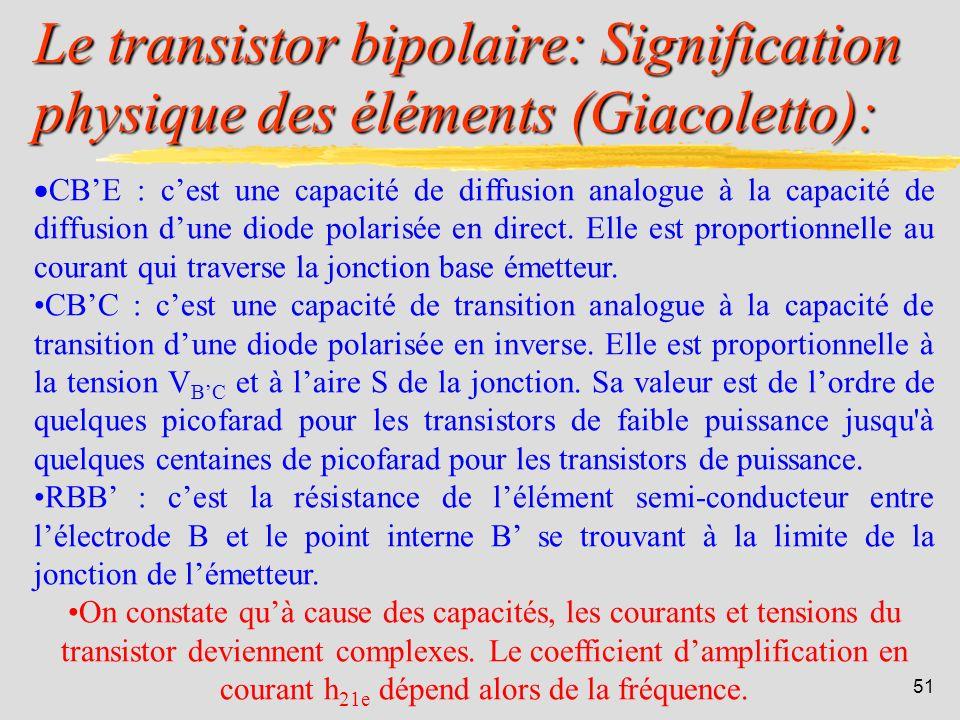 50 Le transistor bipolaire: Schéma équivalent de Giacoletto pour la HF: Avec: RBE = h 11e / h 21e RCE = 1 / h 22e gm = h 21e / h 11e