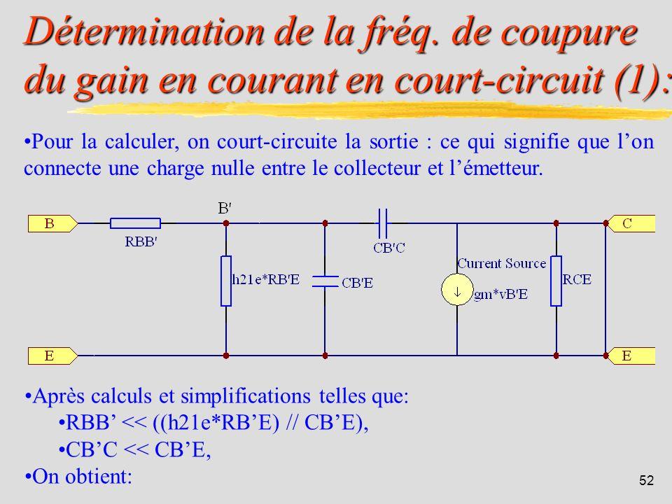 51 Le transistor bipolaire: Signification physique des éléments (Giacoletto): CBE : cest une capacité de diffusion analogue à la capacité de diffusion