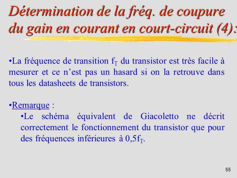 54 Détermination de la fréq. de coupure du gain en courant en court-circuit (3): Traçons alors le gain de Gc: f = fréquence limite de h 21e. f T = fré