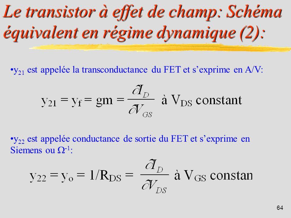 63 Le transistor à effet de champ: Schéma équivalent en régime dynamique (1): Comme le transistor bipolaire, le FET est un quadripôle. On montre quil