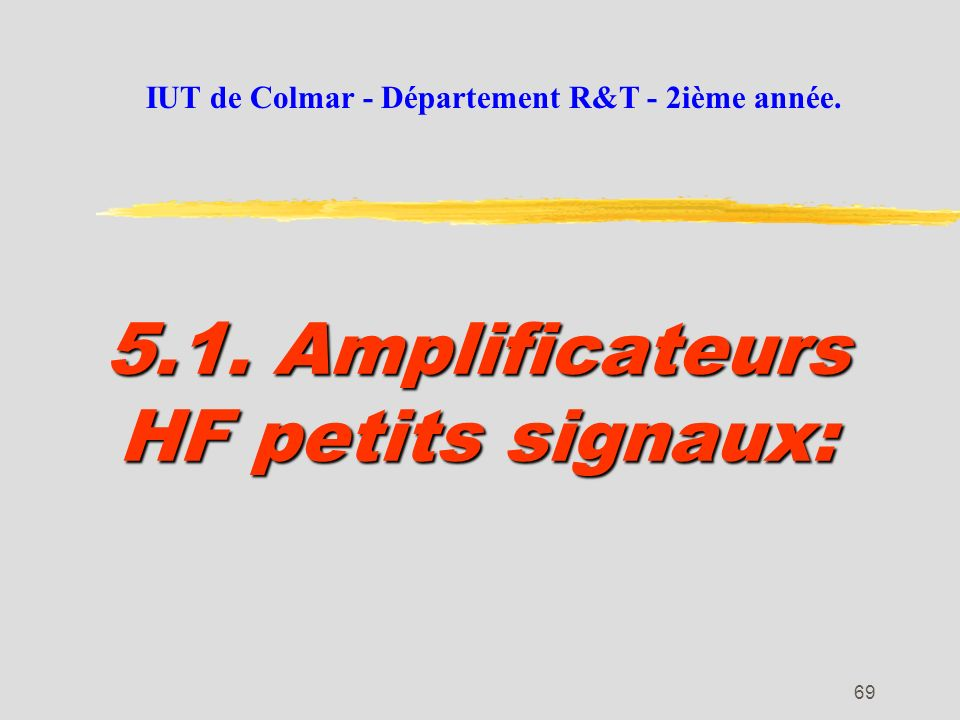 68 La pratique des amplificateurs HF: Le schéma équivalent HF du transistor est difficilement utilisable pour un amplificateur à un étage. Les calculs