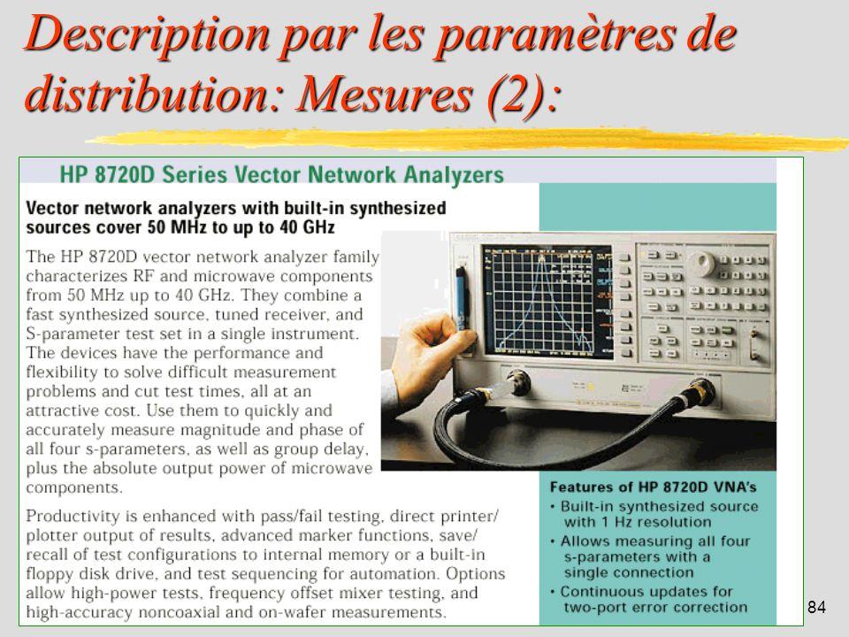 83 Description par les paramètres de distribution: Mesures (1): La mesure de ces paramètres est plus aisée que celle des paramètres y. Toutefois, il f