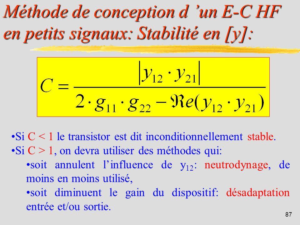 86 Méthode de conception d un E-C HF en petits signaux: Stabilité en [y]: UTILISATION DES PARAMETRES y: RAPPEL: La fonction de transfert dun émetteur