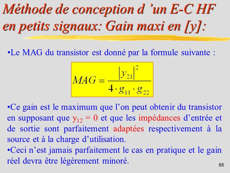 87 Méthode de conception d un E-C HF en petits signaux: Stabilité en [y]: Si C < 1 le transistor est dit inconditionnellement stable. Si C > 1, on dev