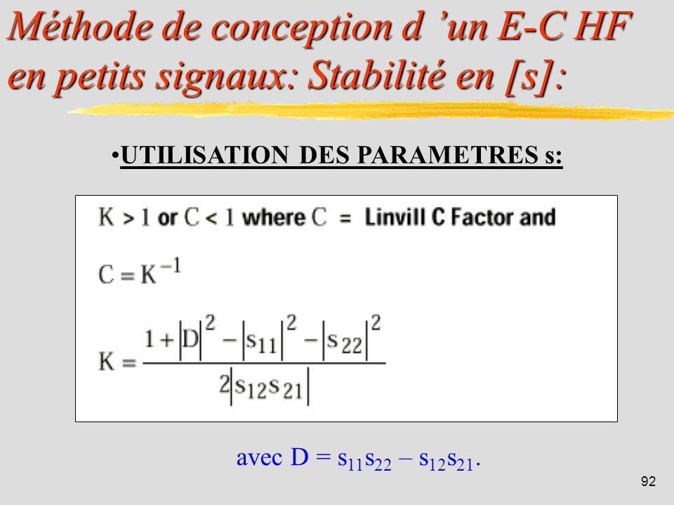 91 Méthode de conception d un E-C HF en petits signaux: Exemple en [y]: Un transistor possède les paramètres y en mS suivants à 100 MHz : y 11 = 8 + j