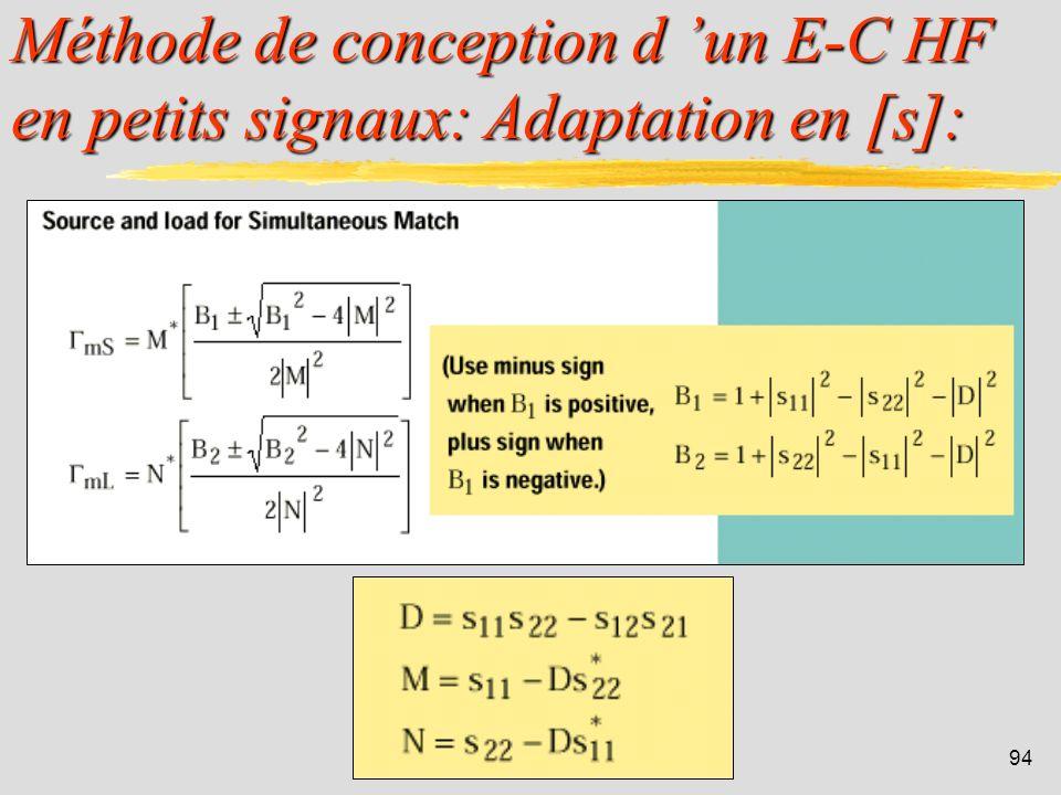 93 Méthode de conception d un E-C HF en petits signaux: Gain maxi en [s]: