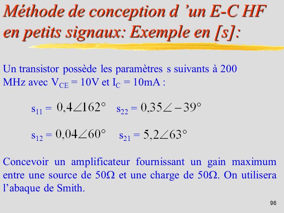 95 Pour en savoir plus: Chapitre 1: Paramètres S lien entre tension/courant et ondes Chapitre 2: Gain et stabilité des quadripôle détail de toutes les