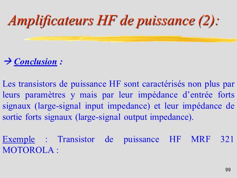 98 Amplificateurs HF de puissance (1): Position du problème: Les paramètres petits signaux ne décrivent pas correctement le fonctionnement des transis